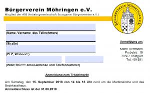 Anmeldung Trödelmarkt 2019